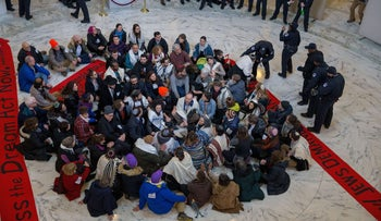 A photo showing Capitol Hill police arresting Jewish activists protesting for passage of a clean DACA bill on Capitol Hill on January 17, 2018 in Washington, DC.
