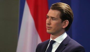 Austrian Chancellor Sebastian Kurz looks on during a news conference in Berlin, Germany, January 17, 2018.