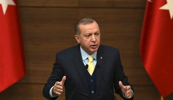 President of Turkey Recep Tayyip Erdogan addresses mukhtars, heads of Turkish villages and neighborhoods, during the 44th Mukhtars Meeting at the presidential complex in Ankara, on January 24, 2018