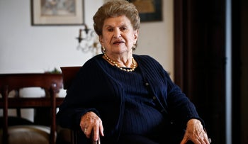 A photo showing Celina Shapil, 92-year-old Holocaust survivor