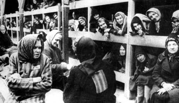 Women are pictured in their barrack after the liberation in January 1945 of the Oswiecim (Auschwitz) concentration camp.