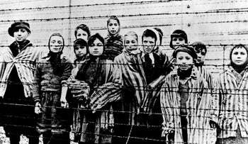 A picture of Holocaust survivors taken just after the liberation of the Auschwitz death camp by the Red Army in January 1945.