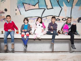 The children and their toys from Left: Yarin, Daniel, Mika, Itay and Gali.