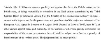 Article in the new Polish law criminalizing the act of calling the 'Polish nation' or the 'Polish state' of complicity with Nazi war crimes