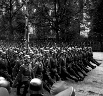 Nazi German soldiers marching in Warsaw 1939 after the invasion of Poland in World War II