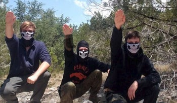 Sam Woodward, the alleged killer of Blaze Bernstein, with members of Atomwaffen, violent neo-Nazi organization in Texas this past summer