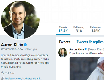 Aaron Klein's Twitter profile. The New York Times wrote on Sunday, January 28 that the majority of his followers are bots.