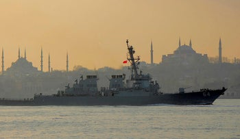 The U.S. Navy destroyer USS Carney on its way to the Black Sea, in Istanbul, Turkey, January 5, 2018