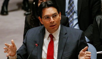Israel's Ambassador to the UN Danny Danon addressing a UN Security Council at the United Nations Headquarters in New York, December 8, 2017.