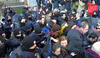 Turkish police clash with protesters following the arrest of members of a medical association that spoke out against Turkey's military offensive in Syria, Ankara, Turkey, January 30, 2018.