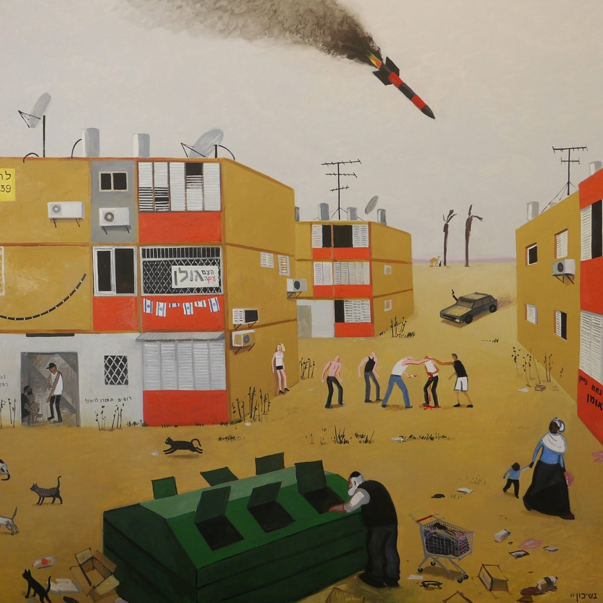 Zoya Cherkassky, 'Friday in the neighborhood,' right, and  '1991 in Ukraine.' Both from 2015.