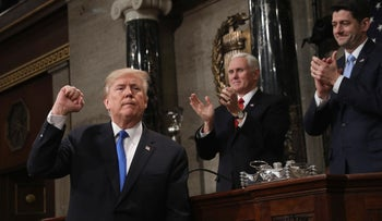 U.S. President Donald Trump at his first State of the Union address, January 30, 2018.