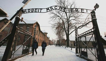 The entrance of the Auschwitz concentration camp in Oswiecim, Poland, December 2009.