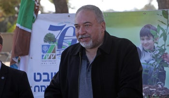 Defense Minister Avigdor Lieberman near the Gaza border, January 31, 2018.