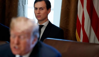 Jared Kushner at a cabinet meeting with President Trump