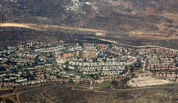 File photo: Ariel view of the West Bank settlement of Ariel.