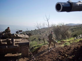 Israeli soldiers near the Israel-Lebanon border.
