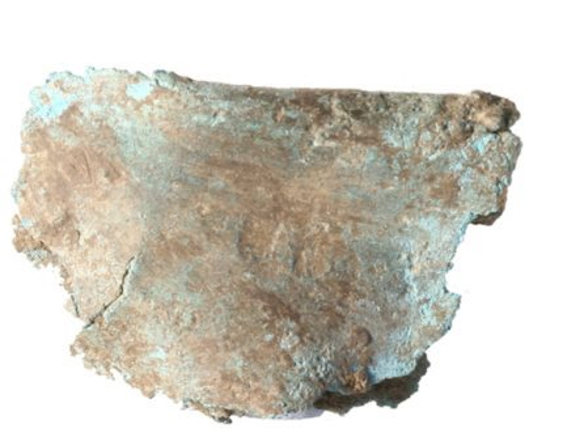 Tin-bronze foil, clearly smelted, found in an occupation layer dated to the mid-5th millennium B.C.E. in Pločnik, Serbia