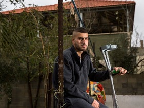 Amir Oudeh at his home in the West Bank village of Qusra.
