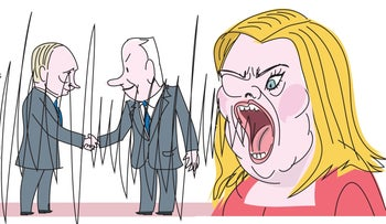Illustration: Sara Netanyahu screams as her husband shakes hands with Putin.