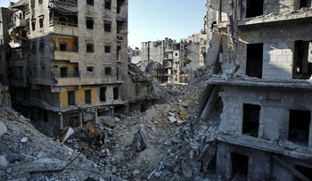 This Jan. 20, 2018 photo, shows the destruction of the Salaheddin neighborhood in eastern Aleppo, Syria
