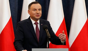 Poland's President Andrzej Duda at a news conference in  Warsaw, Poland, Wednesday, Dec. 20, 2017.