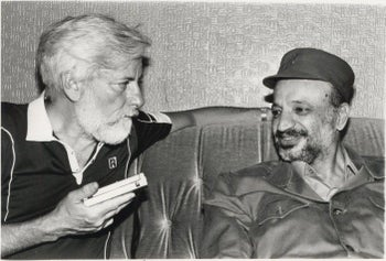 Israeli journalist Uri Avnery meets with PLO leader Yasser Arafat in Beirut, Lebanon, July, 1982.
