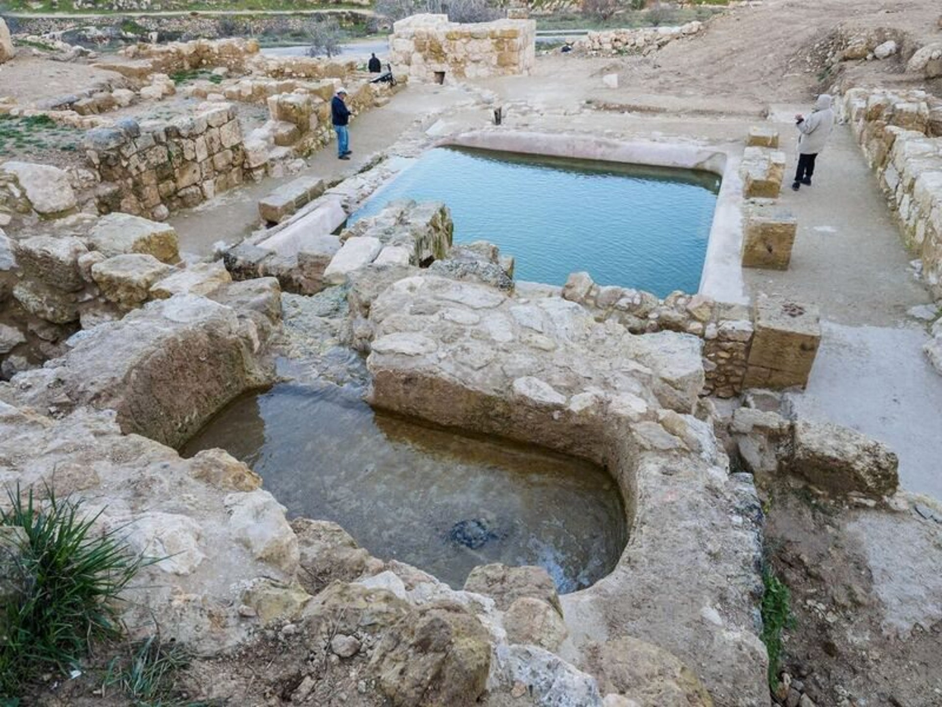 Two of the pools at Ein Hanya nature park in the Judean Hills, near Jerusalem.