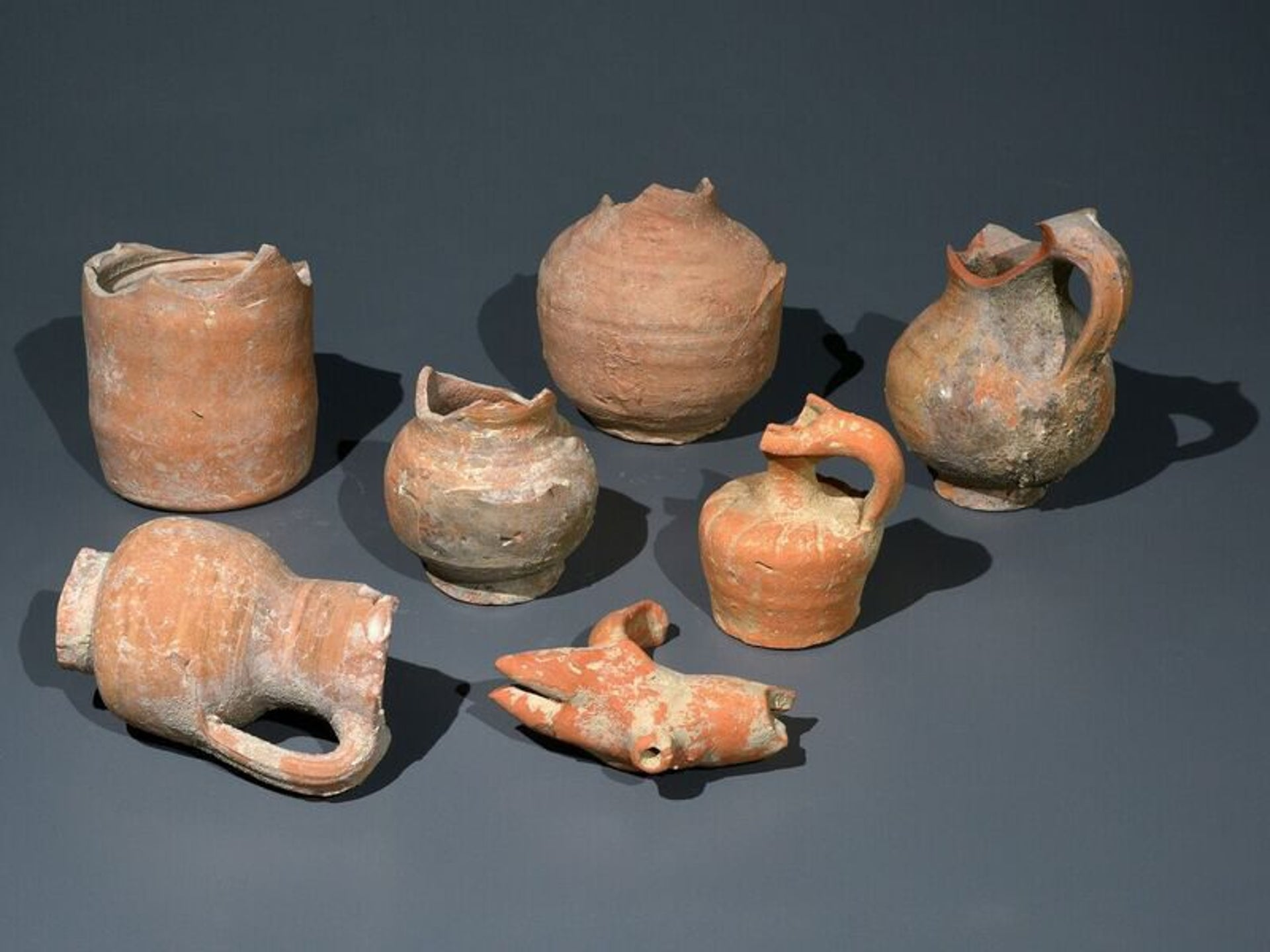 Pottery vessels dating back to the Byzantine period and found at Ein Hanya.