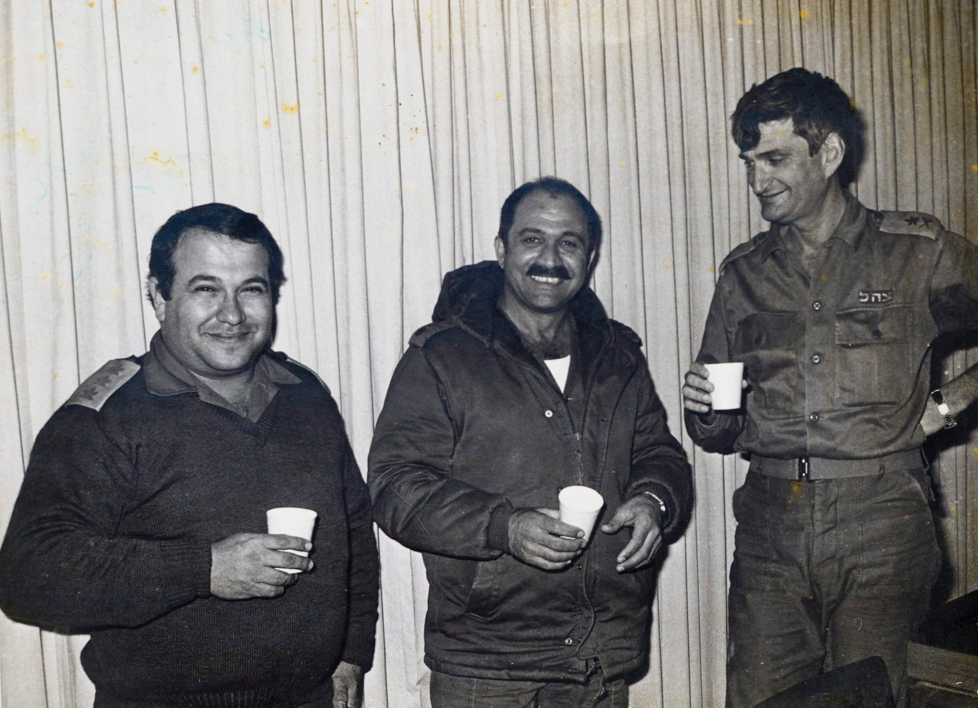 """An undated photograph of Israeli commandos Avigdor Ben-Gal, Yehuda Danguri and Meir Dagan. The latter """"had a serious malfunction in his fear mechanism,"""" the book says."""