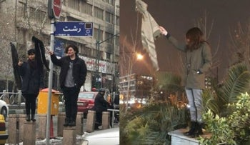 More women and one man in #Iran protest against compulsory #hijab.