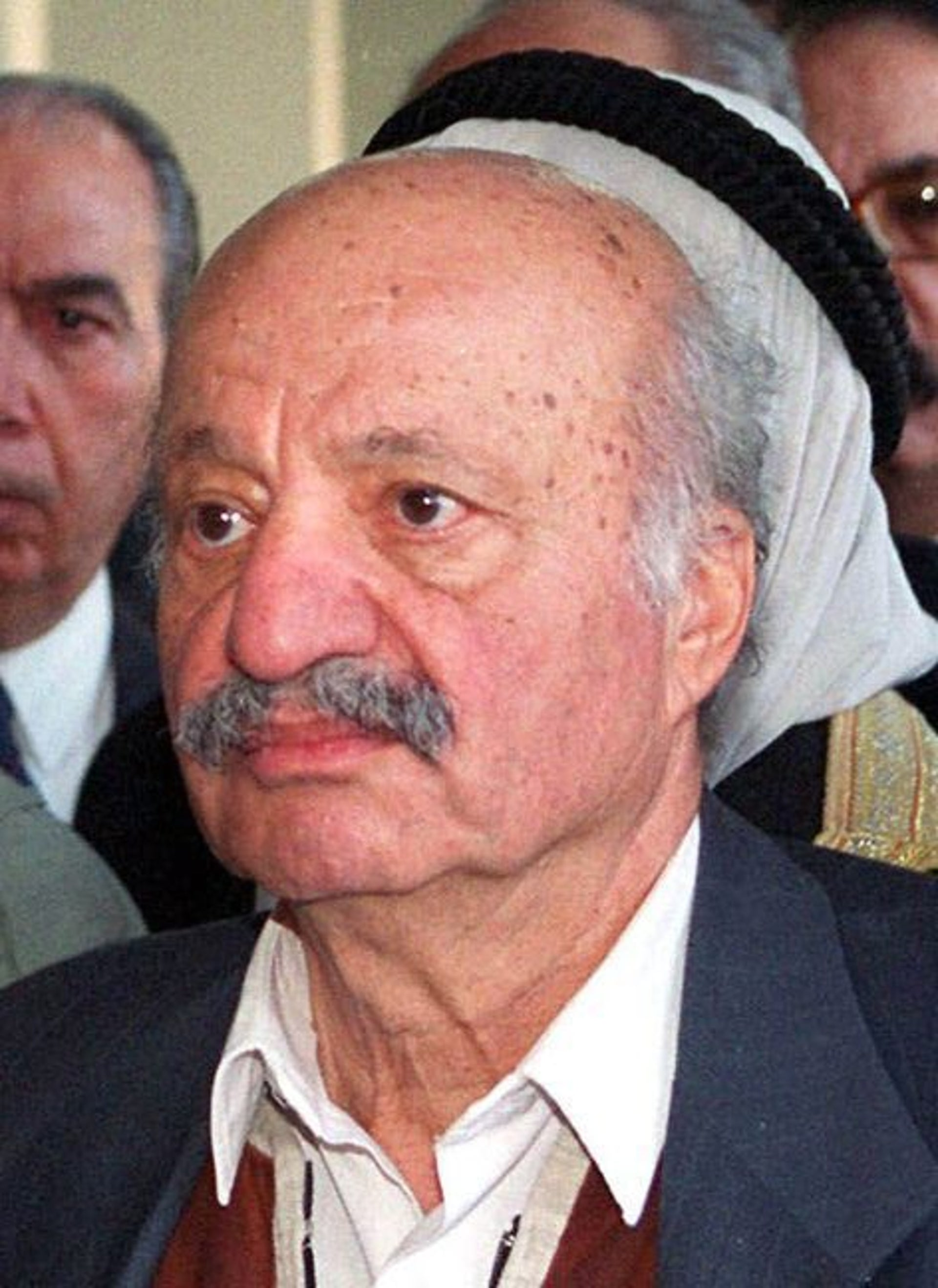 PLO leader Yasser Arafat's brother, Fathi, at the funeral of their sister Inam in 1999.
