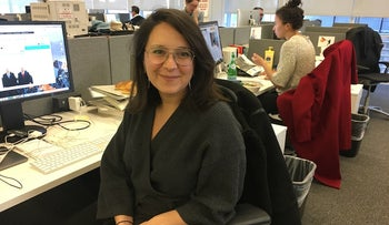 Bari Weiss at her desk in The New York Times office in Midtown Manhattan