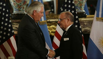 U.S. Secretary Tillerson and Argentine FM Faurie in Buenos Aires, Argentina, Sunday, February 4, 2018.