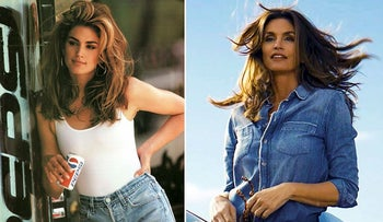 Cindy Crawford in a scene from her 1992 iconic Super Bowl Pepsi commercial and a scene from her 2018 commercial which premiered during Super Bowl LII on Feb. 4