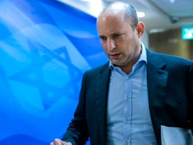 Israeli Education Minister Naftali Bennett arrives for the weekly cabinet meeting at his Jerusalem office on February 4, 2018.