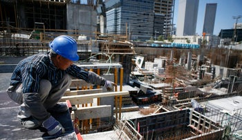A Chinese construction worker in Tel Aviv.