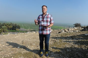 Pastor David Whiting, from Houston, Texas, visiting Tel Megiddo with a group of American evangelical tourists, Jan. 31, 2018.