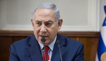 Israeli Prime Minister Benjamin Netanyahu attends the weekly cabinet meeting at the Prime Minister's office in Jerusalem January 28, 2018.