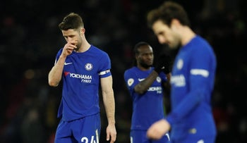 Chelsea's Gary Cahill and teammates on February 5, 2018.