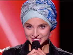 """Mennel Ibtissem on France's music competition reality TV show """"The Voice,"""" 2018."""