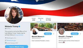 Screen shot of Melania Trump's official Twitter account as First lady of the United States