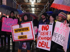 Protesters outside the Rwandan embassy in New York on February 7, 2018.