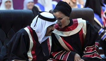The Emir of Qatar Sheikh Hamad bin Khalifa al-Thani and his wife Sheikha Mozah bint Nasser al-Missned visiting Gaza City's Islamic University, breaking then then-newly installed Hamas government's isolation. October 23, 2012