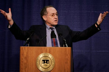Alan Dershowitz addresses an audience at Brandeis University, in Waltham, Mass. Jan. 23, 2007