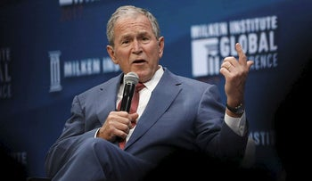 Former U.S. President George W. Bush speaks during the Milken Institute GlobalConference in Beverly Hills, California, U.S., on Wednesday, May 3, 2017