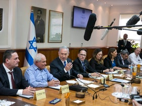 The Israeli cabinet at their weekly meeting, February 1, 2018.