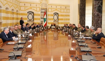 Lebanese President Michel Aoun meets with Lebanon's Higher Defense Council at the presidential palace in Baabda, Lebanon February 7, 2018.
