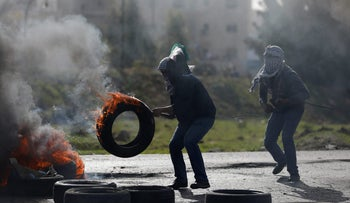 A Palestinian demonstrator in the West Bank, February 9, 2018.