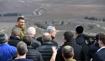 Netanyahu and cabinet ministers on the Golan Heights, February 6, 2018